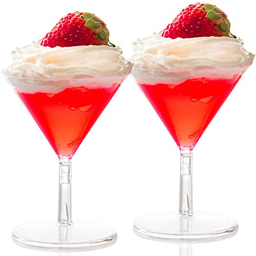 (40 Disposable Mini Plastic Martini Glasses Clear Mini Dessert Cups Plastic Cocktail Glasses 2 pc Martini Glass Dessert Glasses Parfait Cups 2 oz Wine Shooter Shot Glasses Candy Bowls Trifle)