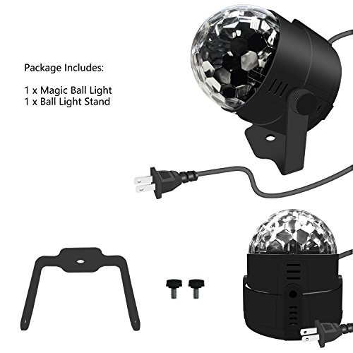 Stage Party Lights - Costech Portable Sound Activated DJ Lighting; RGB Auto Rotating Disco Ball; Strobe Lamp Stage Par Light; 7 Color Changing Crystal LED Ball for Club Pub/ Disco DJ Show by CT COSTECH (Image #6)