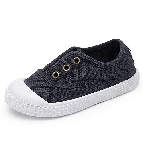 KaMiao Toddler Shoes Kids Canvas Light Weight Slip-on Sneakers Girls Boys Baby Casual Shoes KM167-Blue01-23