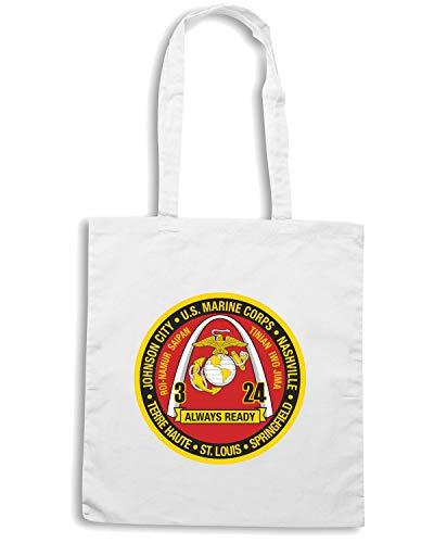Speed Shirt Borsa Shopper Bianca TM0343 3RD BATTALION 24TH MARINE REGIMENT USMCR USA