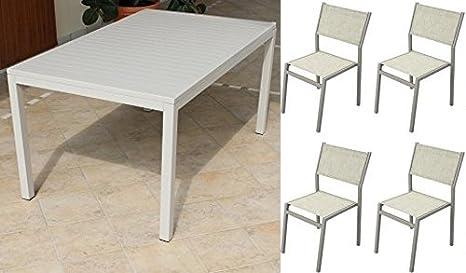 Tavoli Da Esterno Per Ristoranti.Tavolo Da Esterno 150x90cm Con 4 Sedie Colore Tortora In Alluminio