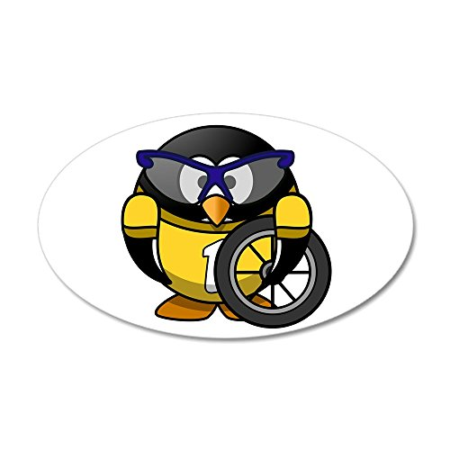 35x21 Oval Wall Vinyl Sticker Little Round Penguin - Cyclist in Yellow Jersey