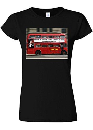 ベール日帰り旅行に余剰Peace at Home Peace in the World Ataturk Quote London Bus Novelty Black Women T Shirt Top-XXL