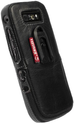 Krusell Classic Multidapt Leather Case with SpringClip for Nokia E71 (Black)