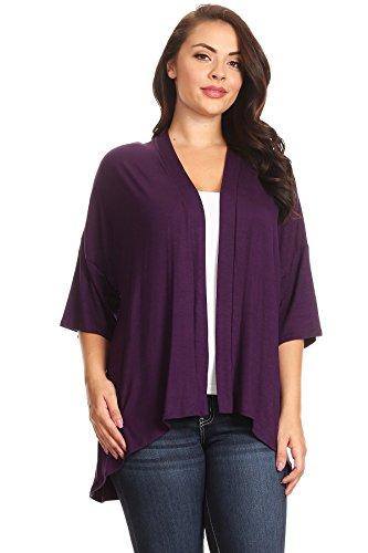 Modern Kiwi Plus Size Solid 3/4 Sleeve Open Front Cardigan Purple 4X