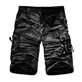iZHH Men's Outdoors Pocket Work Trouser Cargo Shorts Pants Twelve Colors(Black-B,38)