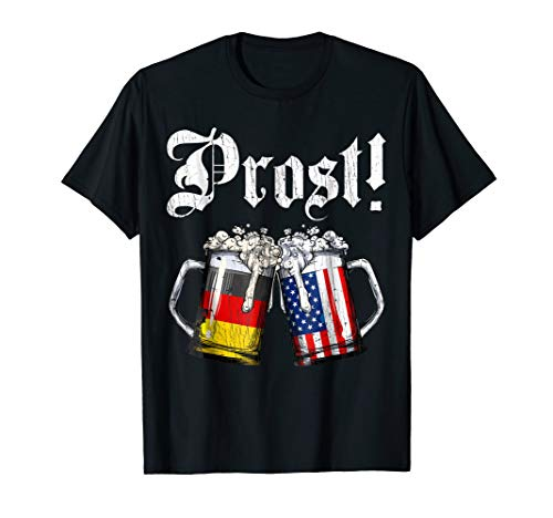 Prost Beer German American Flag T shirt Oktoberfest Men Mug