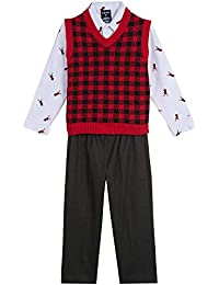 Boys' 3-Piece Sweater Vest, Dress Shirt, and Pants Set