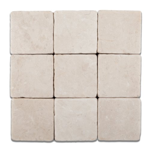 Turkish Crema Marfil Marble 4 X 4 Tumbled Field Tile - 4-pcs. Sample-Set