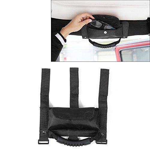 RT-TCZ Roll Bar Grip Handle Grab Handles with Storage Bag Pocket for 2007-2016 Jeep Wrangler JK & Unlimited 2/4 Door - Sunglasses Handle