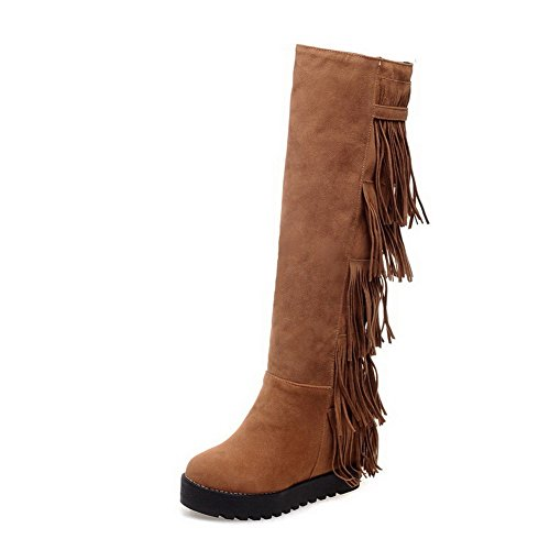 AmoonyFashion Womens Closed-Toe Round-Toe High-Heels Boots With Tassels Ornament and Heighten Increasing Yellow erRiGEldF