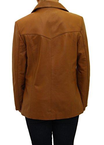 ˆ A Cuir Ržgulier Trois Smart Leather Dames Amžnagže Blazer Z Hanche Boutons Bronzer To En La De FrSqYF
