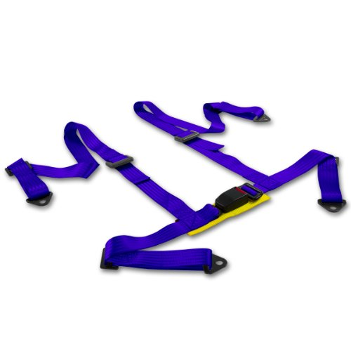 Seat Harness Bar - Universal Blue Nylon 4-Point Racing Seat Belt & Buckle (Pack of 1)