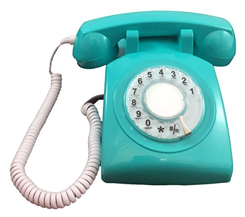 Modern Cool Decorate Princess Aqua Classic Old Model Timey School Antique Vintage Novelty Funky Looking Style Retro Rotary Dial Fashion Easy To Use House Office Landline Phone Replica Clone by Cortelco