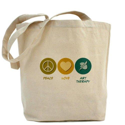 CafePress diseño de símbolo de la Paz amor arte terapia–Gamuza de bolsa de lona bolsa, bolsa de la compra