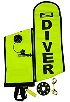 DiveSmart 5ft Scuba Diving Open Bottom Surface Marker Buoy (SMB) Kit 100ft Finger Spool ABS Dive Reel, High Visibility Surface/Signal Marker, Whistle