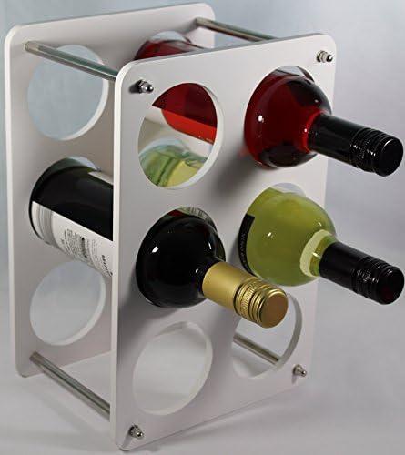 Beautiful Gift Wine Bottle Rack Free Standing - 6 Bottle Holder White