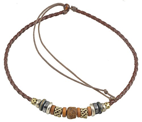 Ancient Tribe Adjustable Hemp Genuine Leather Beads Choker Necklace,Brown