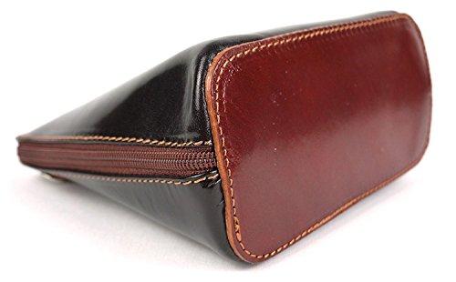 Piel italiana para pequeño Cruz Cuerpo Bolso o bolsa de hombro, azul (azul) - PS14 Chocolate Black
