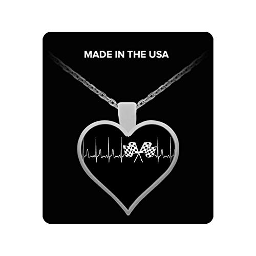 - A Must Have - Racing Heartbeat Necklace - Racing Flags Necklace Pendant Charm Necklace Racing Flags Gift for Men Women Boys and Girls