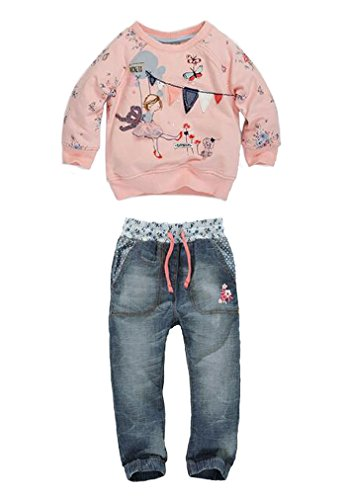 EGELEXY Baby Kids Girls Cute Pattern Pink Sweatshirt and Jeans 2-Piece Outfit 4-5Years Pink Size 4-5Years (Pink)
