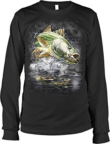 Hoodteez Striped Bass, Striper, Eat Sleep Fish Men's Long Sleeve Shirt, L Black