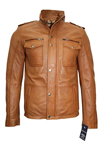 Mens 5540 Gents Tan Designer Real Sheep Nappa Soft Lambskin Leather Jacket (XL, Tan)