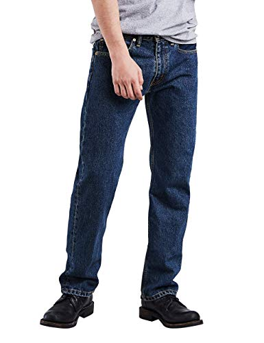 Levi's Men's 505 Regular Fit-Jeans, Dark Stonewash, 36W x 32L (Shoes To Wear With Light Blue Jeans)