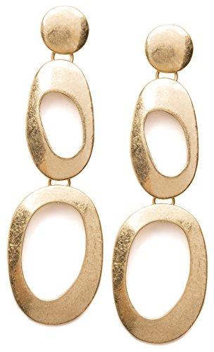Irregular Double Hoop Earrings in Gold Color | Long Abstract Double Hoop - Earrings Abstract