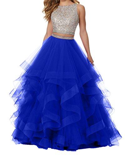 Abendkleider Prinzess Damen Blau Royal Abiballkleider Promkleider A 2018 Neu Abschlussballkleider Lang Charmant Linie dYqgwgt