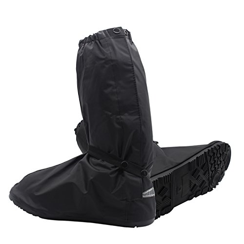 SHARBAY Adult Ultimate Waterproof Rainstorm Rainsuit Rainy Day Rain Gear Snow Motorcycle Bike Outdoor Protective Reusable Boot Shoes Cover with Side Zippered and Velcro (US 9.5-14.5) (Black, M)