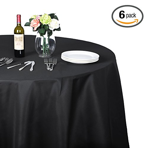 Emart Round Tablecloth, 90 inch Diameter Black 100% Polyester Banquet Wedding Party Picnic Circle Table Cloths (6 Pack) 100% Polyester Banquet Tablecloth