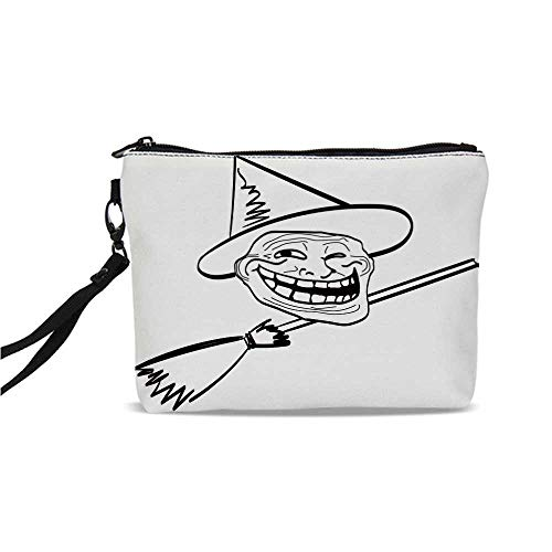 Humor Decor Simple Cosmetic Bag,Halloween Spirit Themed Witch Guy Meme Lol Joy Spooky Avatar Artful Image for Women,9