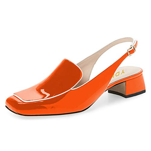 YDN Women Closed Square Toe Block Low Heels Slingback Formal Loafer Shoes Office Lady Pumps Orange 8