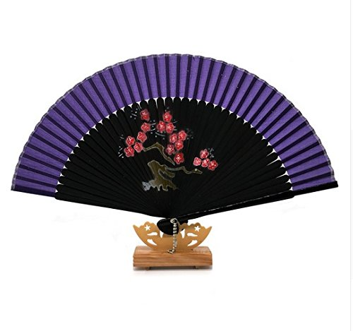 Deep Purple Gift Bag And For Gift Plum Blossom Folding Hand Held Fan Bamboo Costume Party Wedding Dancing by Hand Fan