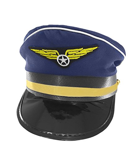 Deluxe Airline Captain Pilot Costume Hat, Blue Gold, Adjustable