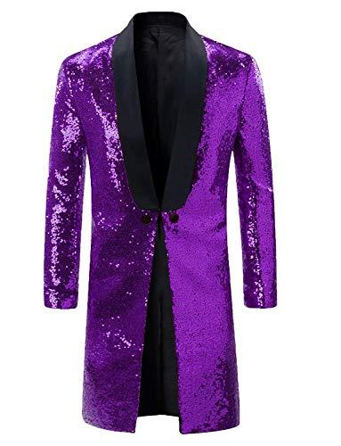 Men Sequins Costume for Theatre Purple Tuxedo Tails