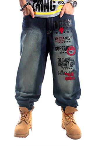 476f48a2942e Easy Men s Boy Hip-hop Floral Distressed Plus Size Baggy Jean Long ...