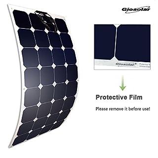 Giosolar Placa Solar Monocristal 100 W Panel solar de alto rendimiento de 100 watios Placa Solar Flexible Fotovoltaico 12V Flexible Autocaravana Barco Chalet Implant Camper Barco Baita