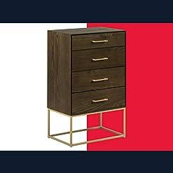 Bedroom Tommy Hilfiger Franklin Contemporary Dresser Drawer Chest, Modern Wood Accent, Gold Metal Leg, 4, Walnut modern dressers