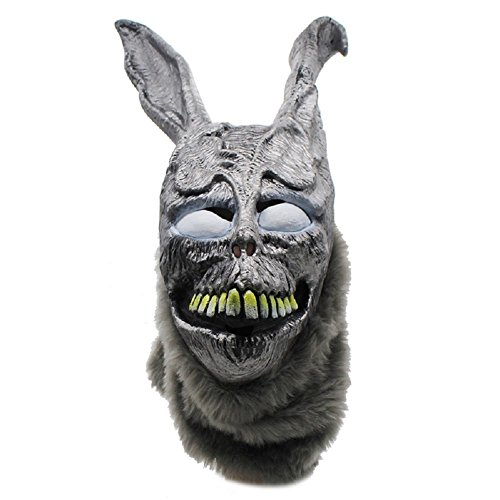 Frank Donnie Darko Mask The Bunny Rabbit Scary Animel Helmet Latex Overhead with Fur Halloween Prop Grey]()