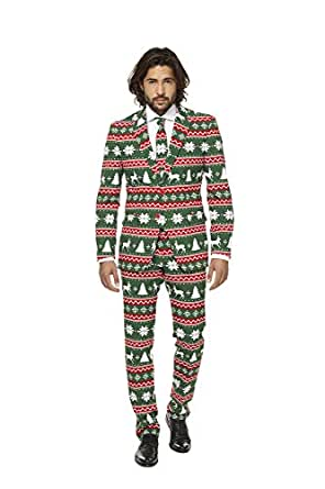 Mens Festive Green Suit and Tie By Opposuits