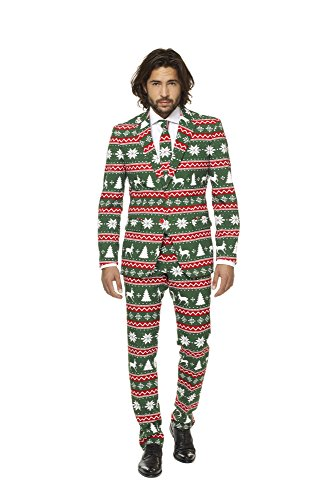 OppoSuits Mens Christmas Green and Red Party Suit - Ugly Xmas sweater costume