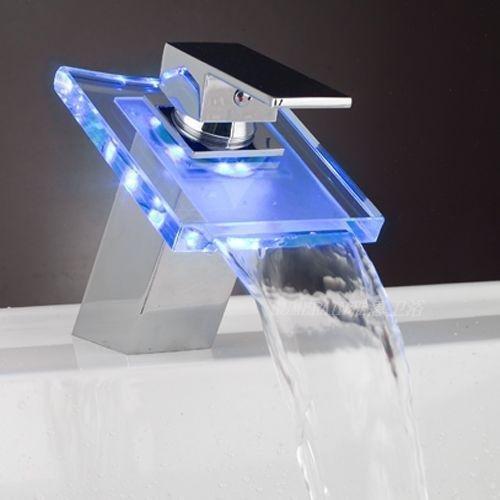 Ouku® Deck Mount Modern Single Handle Widespread Waterfall