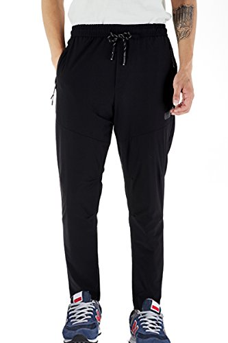 Donhobo Men's Athletic Pants for Outdoor and Multi Sports (Black,M) by Donhobo