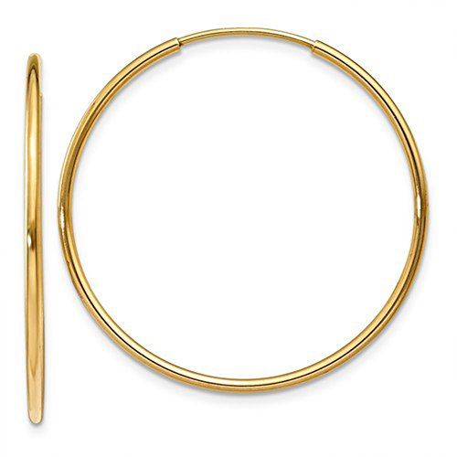 Medium 14k Yellow Gold Continuous Endless Hoop Earrings, 1.25mm Tube (30mm)