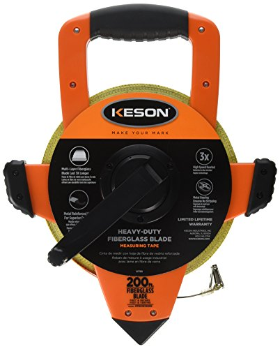 - Keson OTRS1810200 Fiberglass Measuring Tape with Double Hook, Speed Rewind (Graduation: ft, in, 1/8 & ft, 1/10, 1/100), 200-Foot