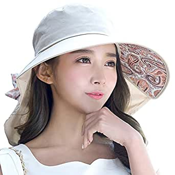 Siggi Womens UPF50+ Cotten Sun Hats for Ladies Foldable Large Brim with Neck Protector & Chin Strap 56-58CM Khaki