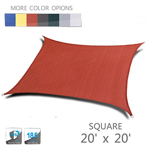 LOVE STORY 20 x 20 Square Terra Sun Shade Sail Canopy UV Block Awning for Outdoor Patio Garden Backyard
