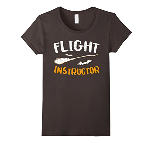 [Womens Flight Instructor Witch T-Shirt Halloween Gift Shirt Medium Asphalt] (Dad Mom And Baby Halloween Costumes)